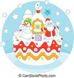 Christmas cake - Holiday cake with Father Christmas, his...
