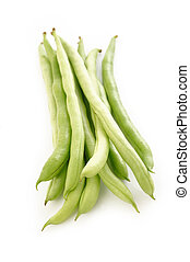 Green bean on white background