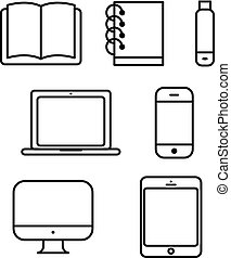 laptop tablet set vector icon computer book flash phone -...