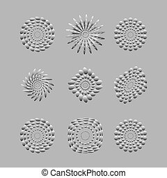 White abstract circles with drop shadow background art...