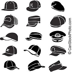 gorra, Conjunto, aislado, en, blanco, sombrero, icono,...