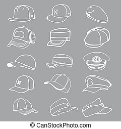 cap set isolated on white hat icon vector baseball rap - cap...