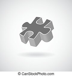 vector glossy puzzle web icon design element grey - vector...