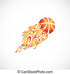 vector, flame, fire, ball, orange, basketball, symbol, icon,...
