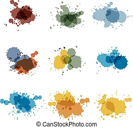 Watercolor hand painted circles set vector spot - Watercolor...