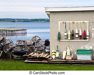 North Rustico, PEI Canada Lobster Traps and Floats - North...