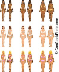 Fat and thin woman, vector illustration, normal, anorexia...