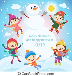 Christmas Greeting Card Kids, Snow and Snowman vector