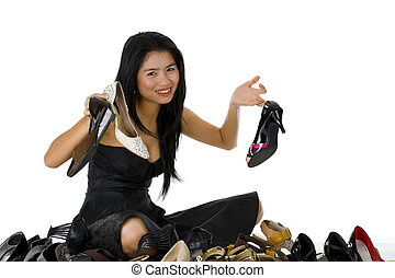 beautiful woman sitting with her shoes
