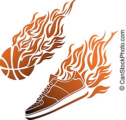 Basketball ball in flame sneakers vector icon color -...