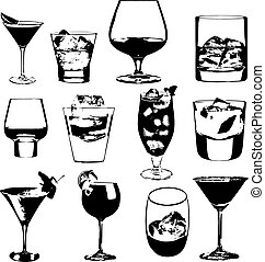 Cocktails set. Vector glasses collection. drinking whiskey...