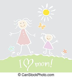 Kids Drawing. The Mother's Day vector heart happy - Kids...