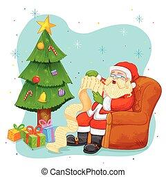 santa claus lesende wunsch liste f r weihnachten. Black Bedroom Furniture Sets. Home Design Ideas