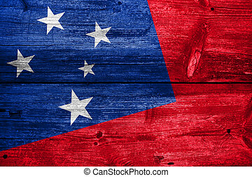 Samoa Flag painted on old wood plank texture