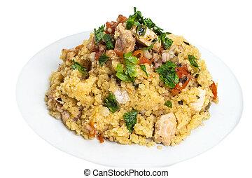 Couscous grain dish with swordfish