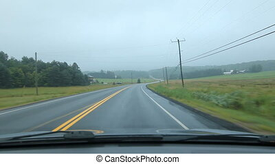 Driving in Muskoka. Farmland. - Driving on a misty morning....