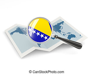 Magnified flag of bosnia and herzegovina with map isolate on...