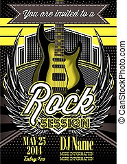 vector template for a rock concert with guitar