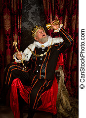 Drunk king with scepter - Old funny king getting drunk...