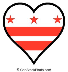 Love Washington DC - Washington DC flag within a heart all...