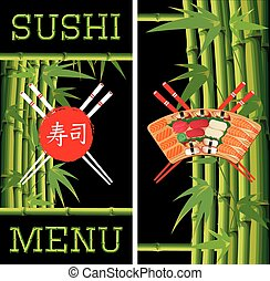 vector template for sushi menu