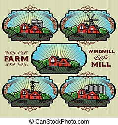 set of vector labels for farm, mill, windmill, rural...