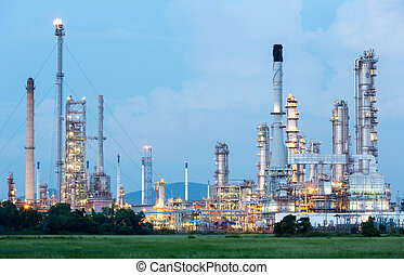 aceite, refinería, planta,