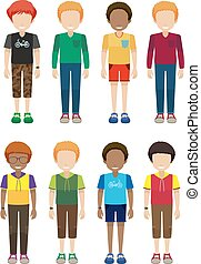 Faceless male teenagers on a white background