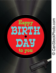 Template greeting card happy birthday on vinyl - vector...