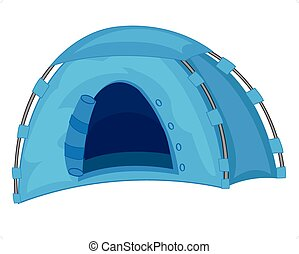 Tourist tent of the blue colour on white background