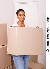 african american woman relocating - african american woman...