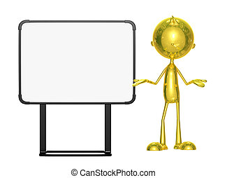 Golden character with white board
