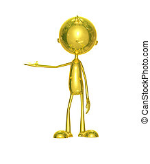Golden character with presenting pose