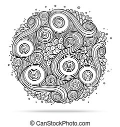 Ethnic floral doodle pattern circle in vector. - Asian...