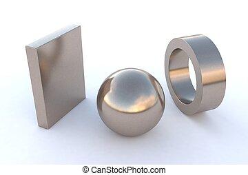 Nickel - computer rendered various steel elements in Nickel