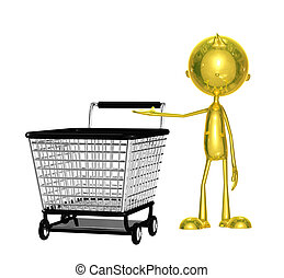 Golden character with trolley