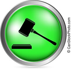 Judge gavel button on white background. Vector illustration.