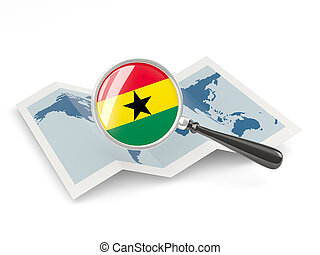 Magnified flag of ghana with map isolate on white
