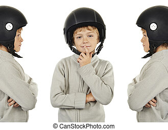 young triplets boy with black helmet isolated on white...