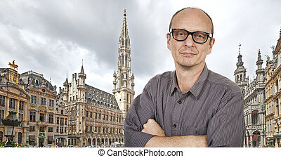 Selfie With Timer at Grand Place, Brussels, Europe