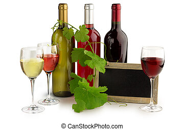 wine tasting - wine bottles and glasses, blackboard and...