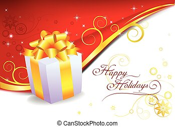 Gift box and red christmas vector background.
