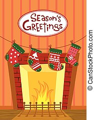 Christmas stockings, greeting card - Cute background for...
