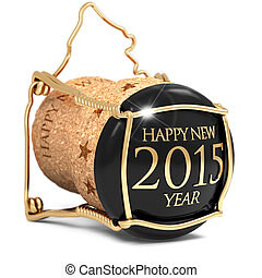 toast the new year - black champagne cork isolated on white...