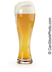 wheat beer - pint of wheat beer isolated on white background