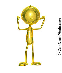 Golden character with body building pose - Illustration of...