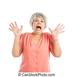 Stressed old woman - Portrait of a elderly woman yelling and...