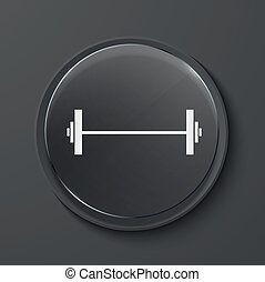 Vector modern black glass circle icon. - Vector barbell...