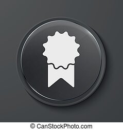 Vector modern black glass circle icon - Vector award modern...