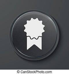 Vector modern black glass circle icon - Vector award modern...